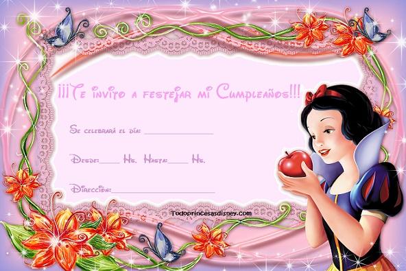 Invitaciones de Cumpleaños con Blancanieves | Princesas Disney