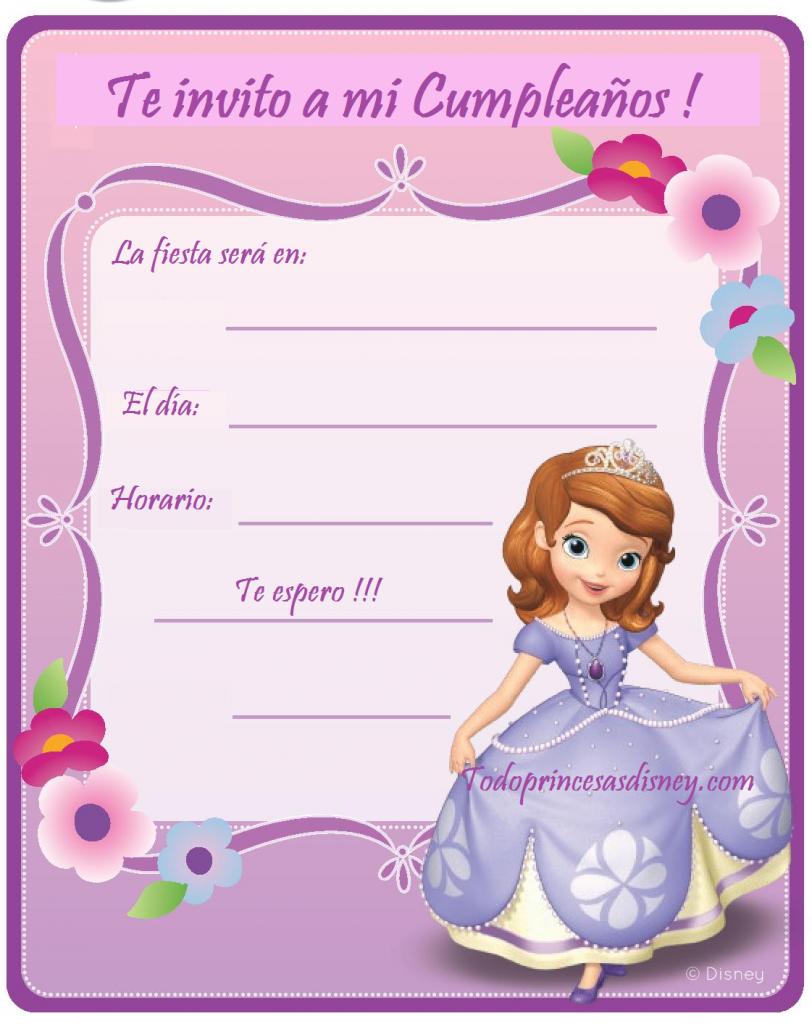 Invitaciones Para Imprimir De Princesita Sofia