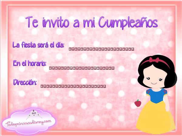 Invitaciones de Cumpleaños de Blancanieves