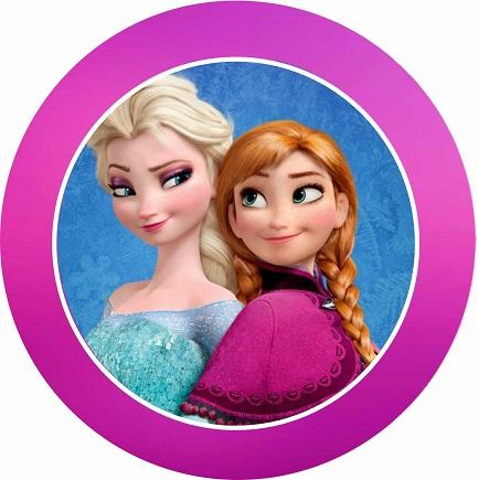 Etiquetas de Elsa y Anna Frozen - Stickers Elsa y Anna Frozen - Toppers pegatinas redondas Frozen