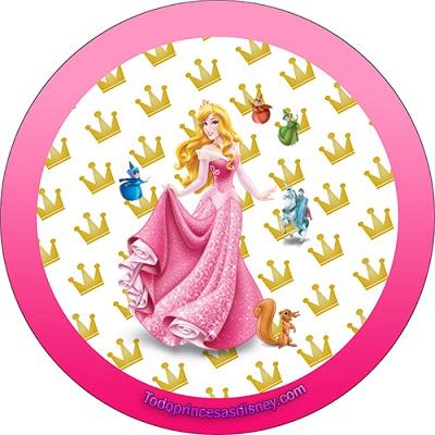 Stickers de La Bella Durmiente -Etiquetas de Aurora Princesa - Imprimibles de La Bella Durmiente Aurora cumpleaños