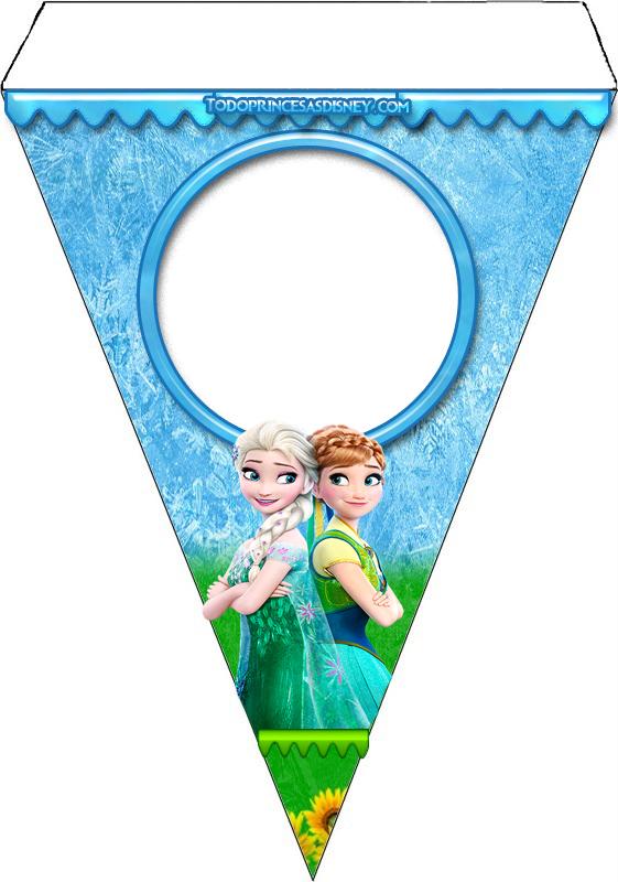 banderines de Frozen para decoración - Elsa y Anna banderines