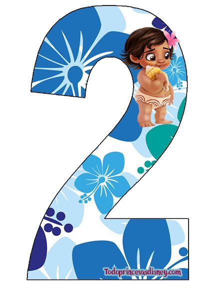 Números de Moana Baby para Imprimir Gratis | Princesas Disney