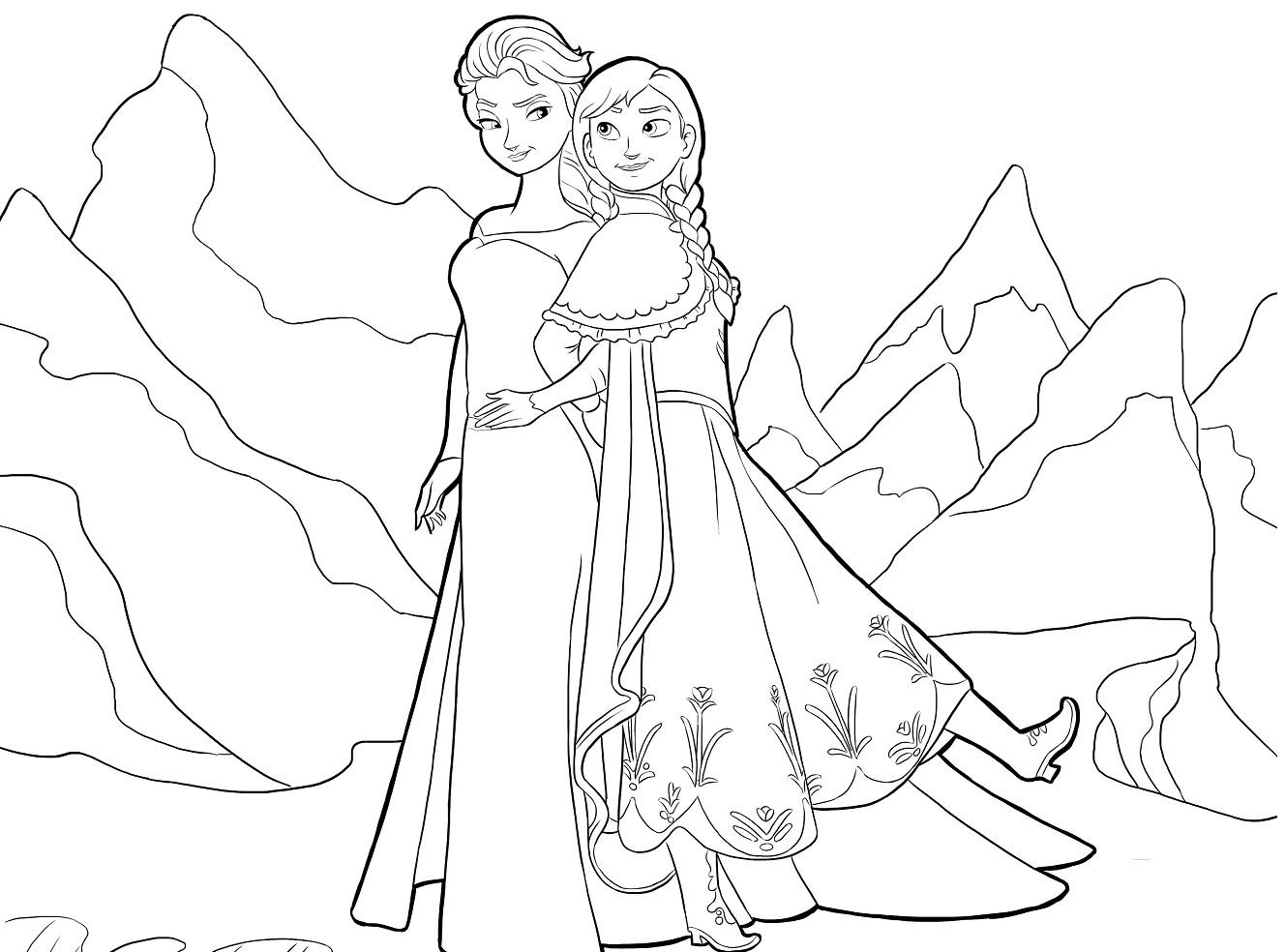 Dibujos de Elsa y Anna para pintar | Princesas Disney