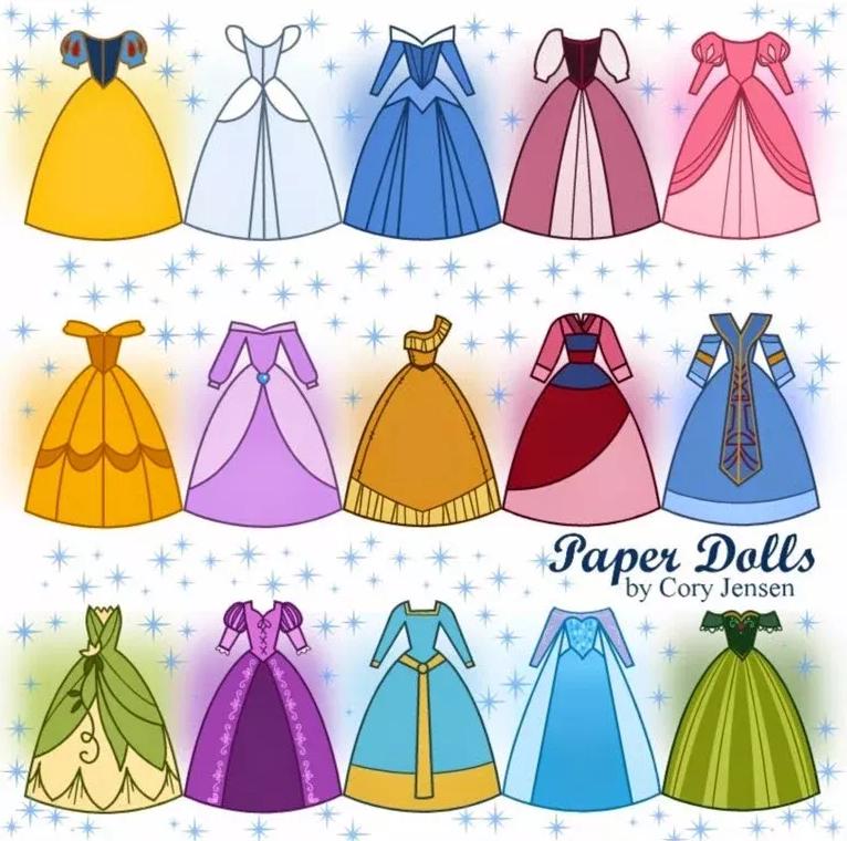 Vestidos De Princesas Para Imprimir Princesas Disney