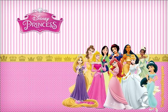 Princesas Disney tarjetas etiquetas invitaciones de cumpleaños