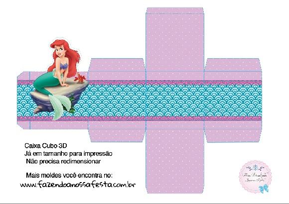 Moldes cajas de La Sirenita para imprimir y armar